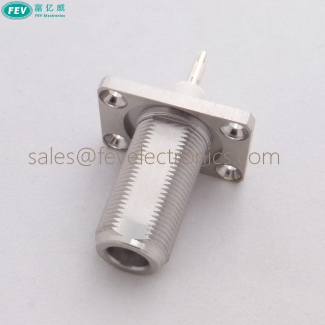 N female connector bulkhead 4 hole flange panel connector with extended PTFE