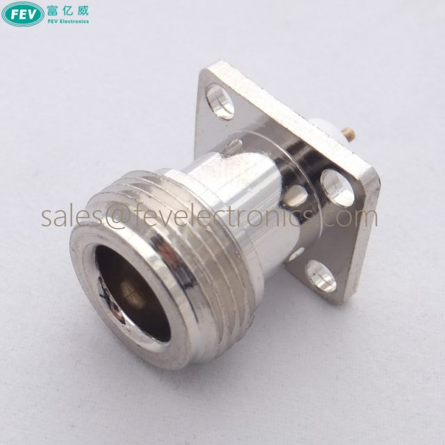 RF Connector N Female 4 Hold Flange type panel connector with extended PTFE