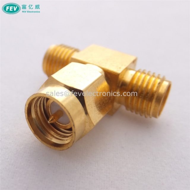 SMA Male to Double SMA Female T RF Coaxial Adapter connector SMA 2 way splitter
