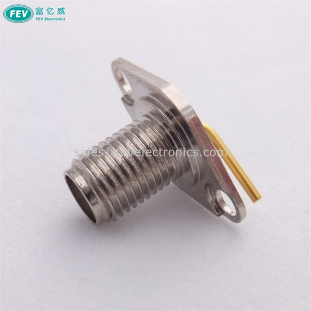 SMA Female 2 holes Rhombic Flange Connector for PCB panel Mount stainless steel