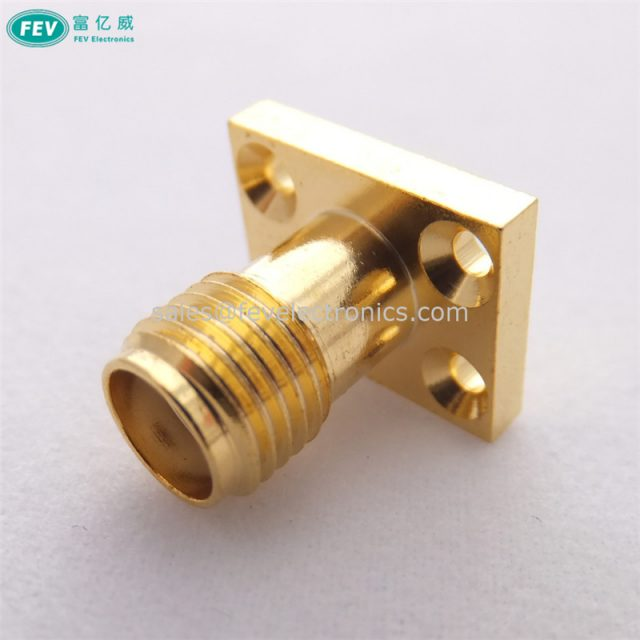 Flange Crimp Connector SMA Female Connector Straight Panel Mount 4 Holes