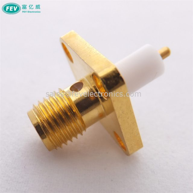 SMA Female Connector 4 Holes 12.7mm SQ Flange Terminal Connector