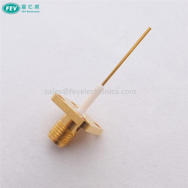 SMA Female RF Coax Connector flange 4 holes pcb mount with long conductor