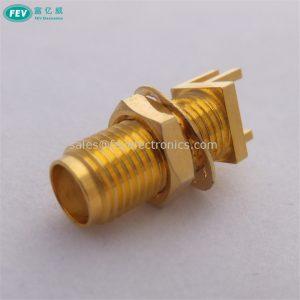 SMA female bulkhead edge mount sma jack with washer and nut pcb connector